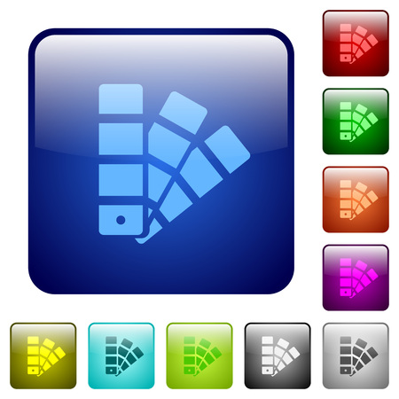 color swatch: Set of color swatch color glass rounded square buttons Illustration