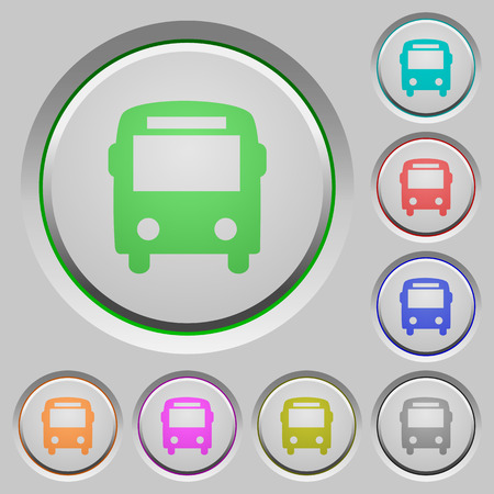 Set of color bus sunk push buttons.