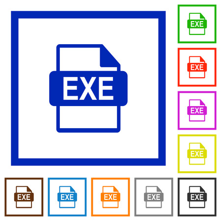 executable: Set of color square framed EXE file format flat icons