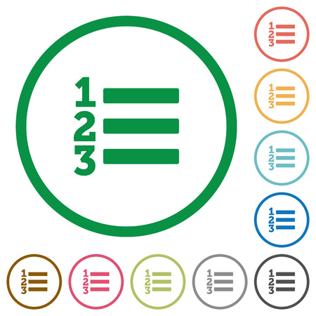 ordered: Set of ordered list color round outlined flat icons on white background