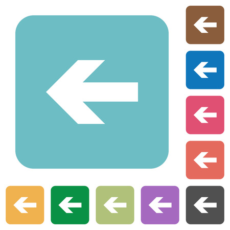 rounded: Flat left arrow icons on rounded square color backgrounds. Illustration