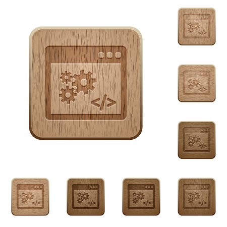 interface buttons: Set of carved wooden application programming interface buttons in 8 variations.