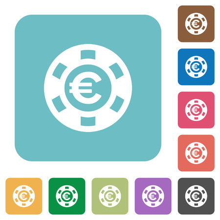 rounded: Flat Euro casino chip icons on rounded square color backgrounds. Illustration