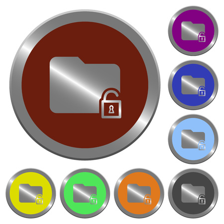 unfold: Set of color glossy coin-like unlock folder buttons