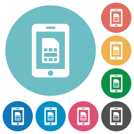 subscriber: Flat mobile simcard icon set on round color background.