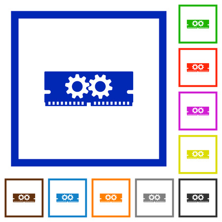 Set of color square framed memory optimization flat icons