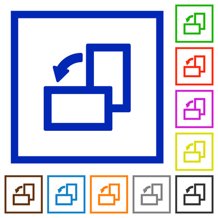 rotate: Set of color square framed rotate left flat icons