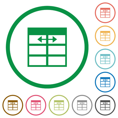 width: Set of Spreadsheet adjust table column width color round outlined flat icons on white background Illustration