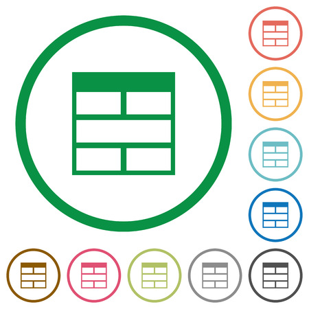 horizontally: Set of Spreadsheet horizontally merge table cells color round outlined flat icons on white background