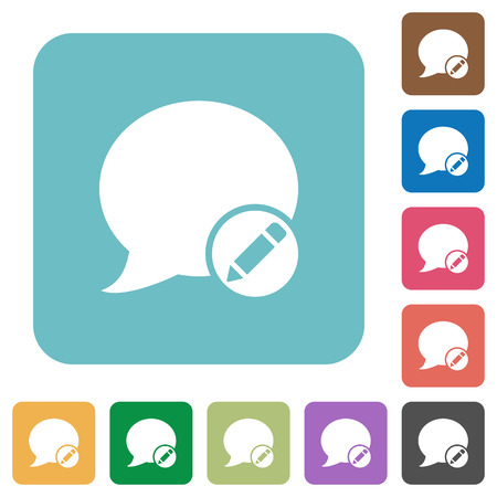 Flat Moderate blog comment icons on rounded square color backgrounds. Illustration