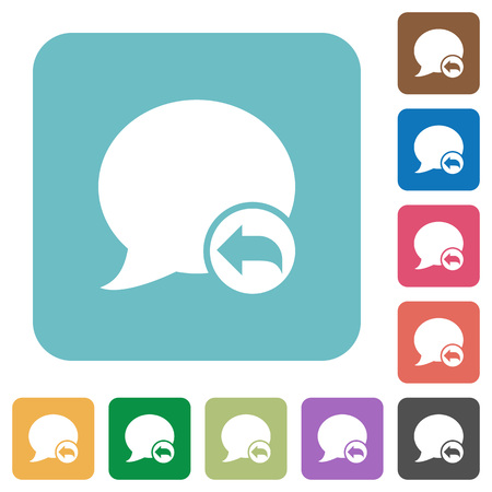 reply: Flat Reply blog comment icons on rounded square color backgrounds.