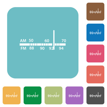 am radio: Flat radio tuner icons on rounded square color backgrounds. Illustration