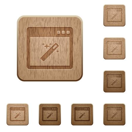 variations set: Set of carved wooden application wizard buttons in 8 variations. Illustration
