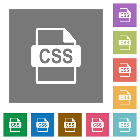 css: CSS file format flat icon set on color square background.