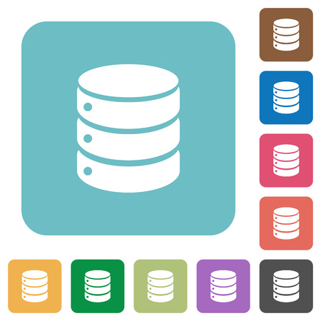 mysql: Flat database icons on rounded square color backgrounds.