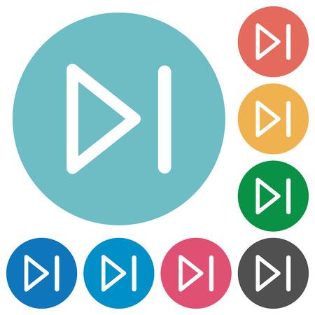 Flat media next icon set on round color background.