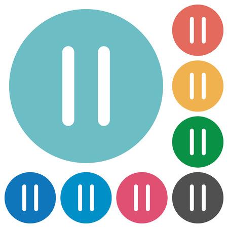 intermission: Flat media pause icon set on round color background. Illustration