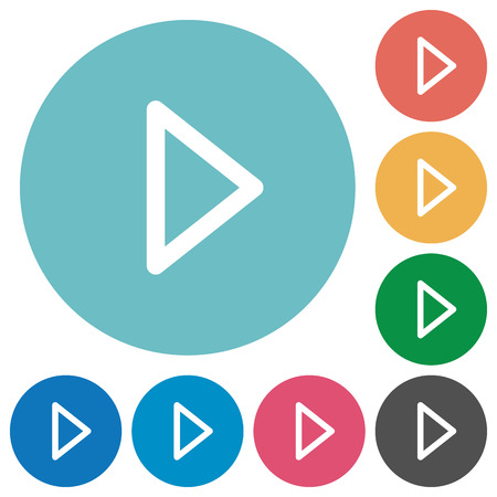 execute: Flat media play icon set on round color background.