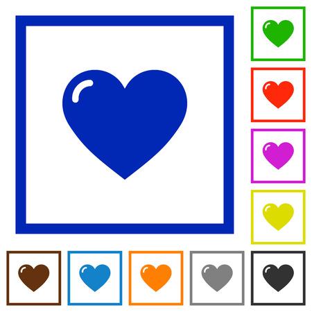 square shape: Set of color square framed heart shape flat icons