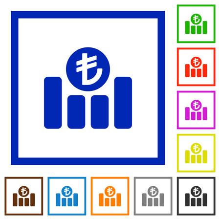 turkish lira: Set of color square framed turkish Lira graph flat icons