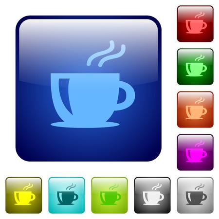 Set cappuccino kleur glazen afgeronde vierkante knoppen