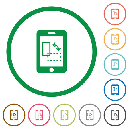 displacement: Set of mobile gyrosensor color round outlined flat icons on white background