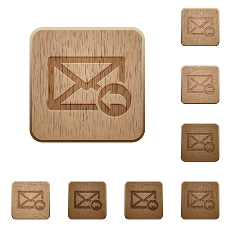 reply: Set of carved wooden reply mail buttons in 8 variations. Illustration