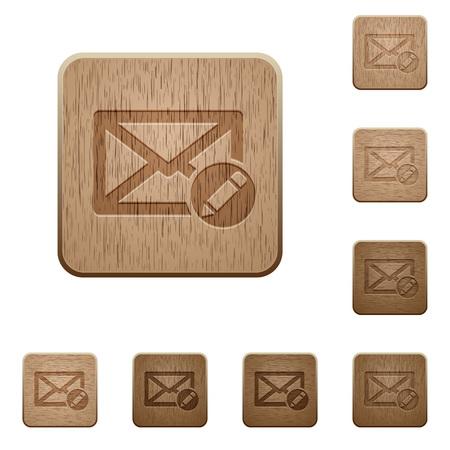 variations set: Set of carved wooden write mail buttons in 8 variations. Illustration