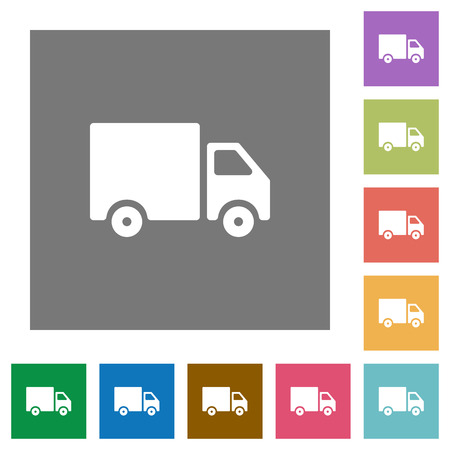 camion: Delivery truck flat icon set on color square background.