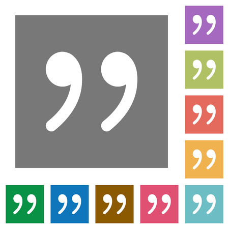 quoted: Quotation mark flat icon set on color square background.