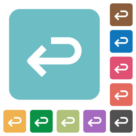 execute: Flat back arrow icons on rounded square color backgrounds.