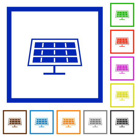 solarenergy: Set of color square framed solar panel flat icons