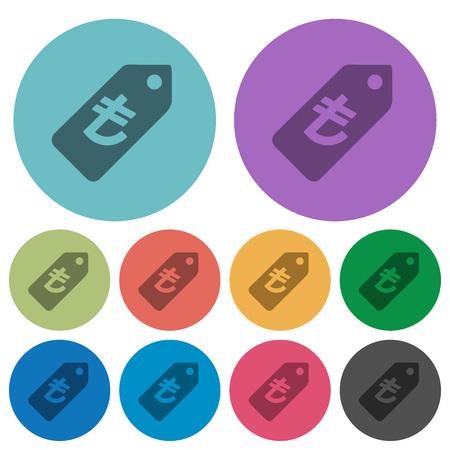 lira: Color turkish Lira price label flat icon set on round background. Illustration