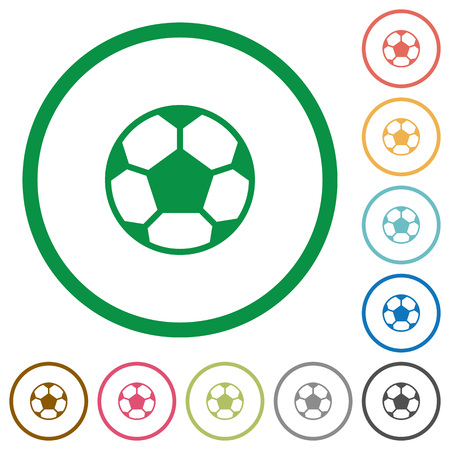 dexterity: Set of soccer ball color round outlined flat icons on white background