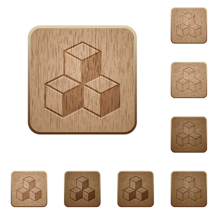viewpoints: Set of carved wooden cubes buttons in 8 variations. Illustration