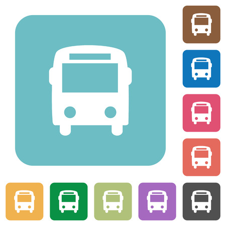 autobus: Flat bus icons on rounded square color backgrounds.