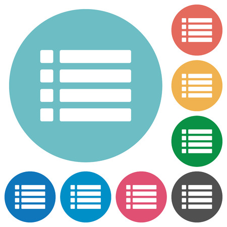 disordered: Flat Unordered list icon set on round color background. Illustration
