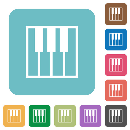 at tact: Flat piano keyboard icons on rounded square color backgrounds.