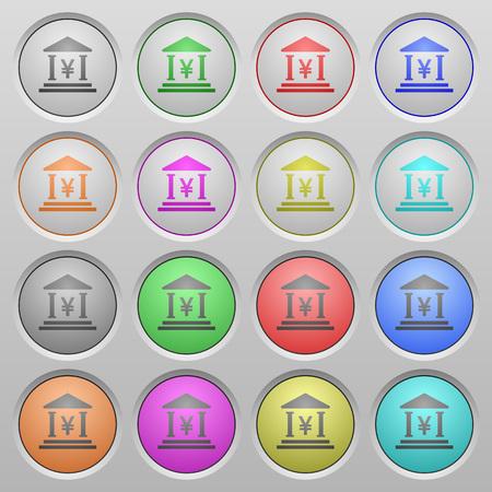 japanese yen: Set of Yen bank plastic sunk spherical buttons. Illustration