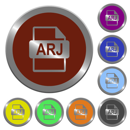 Set of color glossy coin-like ARJ file format buttons Illustration