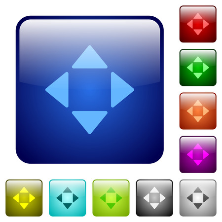 rounded: Set of control arrows color glass rounded square buttons Illustration