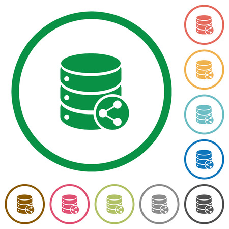 dependencies: Set of database table relations color round outlined flat icons on white background
