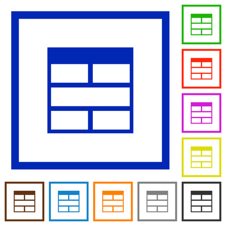 horizontally: Set of color square framed Spreadsheet horizontally merge table cells flat icons