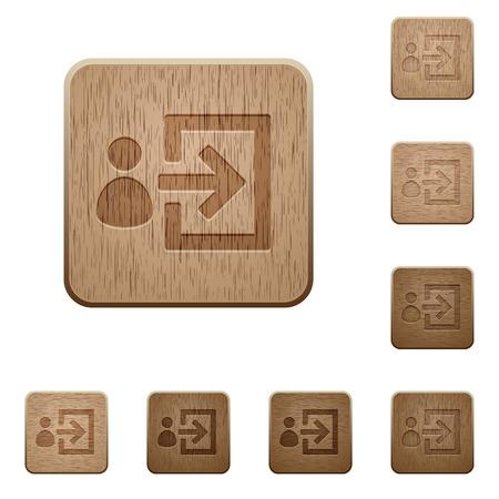 logon: Set of carved wooden user login buttons in 8 variations.