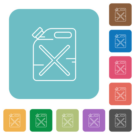 gas can: Flat gas can icons on rounded square color backgrounds. Illustration