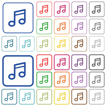 tact: Set of music note flat rounded square framed color icons on white background. Thin and thick versions included.