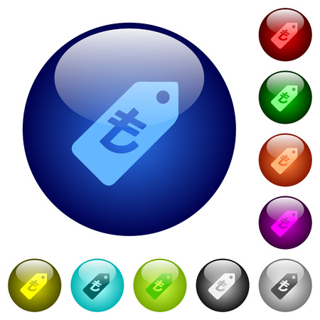 lira: Set of color turkish Lira price label glass web buttons. Illustration