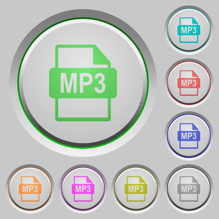 datasets: Set of color MP3 file format sunk push buttons.