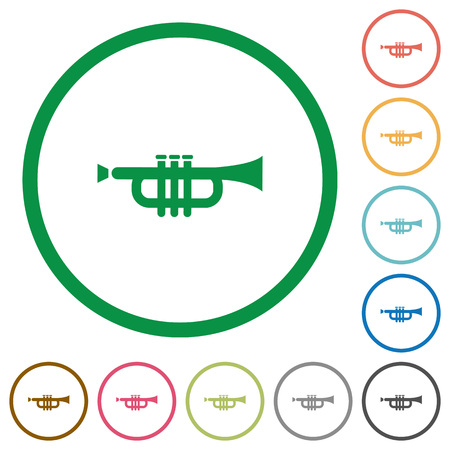 tact: Set of trumpet color round outlined flat icons on white background
