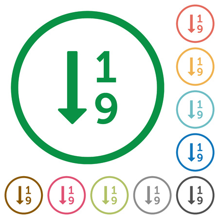 ascending: Set of Ascending numbered list color round outlined flat icons on white background